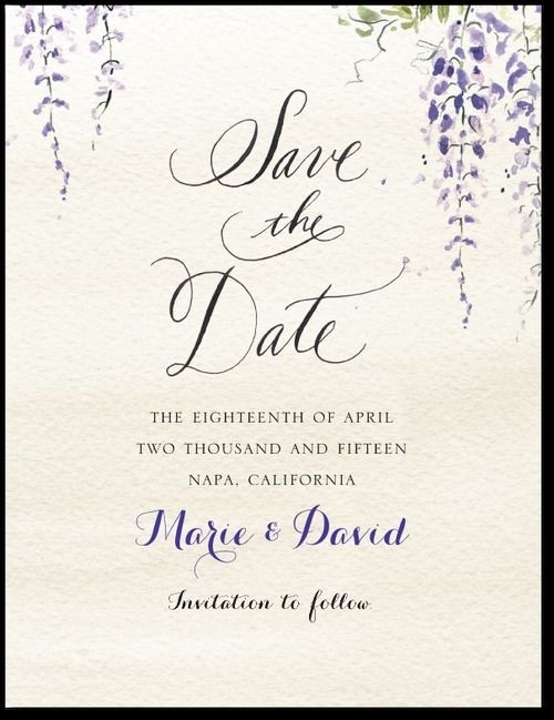 Wedding Paper Divas Wisteria Wonder: Velvet Rope Save the Dates, Invitations, Thank Yous