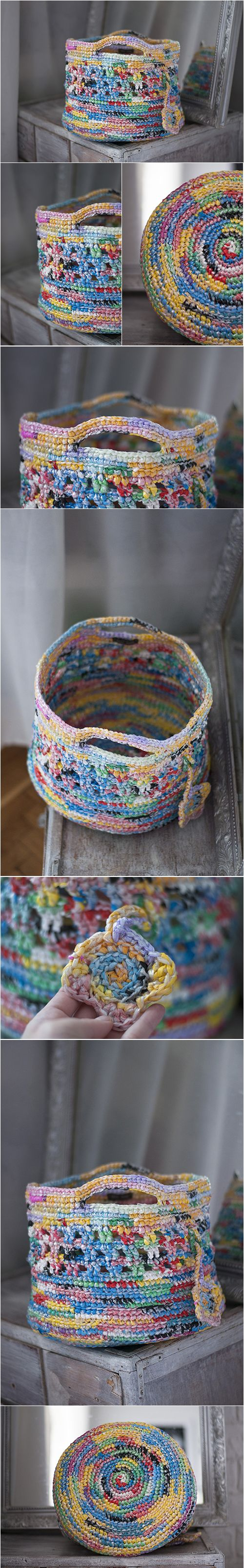 Midle Rainbow Upcycled Plarn Basket, Recycled Toy Storage, Ecofriendly Pouch, Crochet Multicolor Yellow Red Blue Green Big Colored Basket, Upcycling, recycling