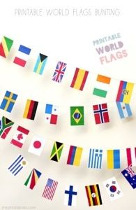 Learning about Flags and a link to make this awesome World Flag Bunting from mrprintables.com. http://theartofhomeeducation