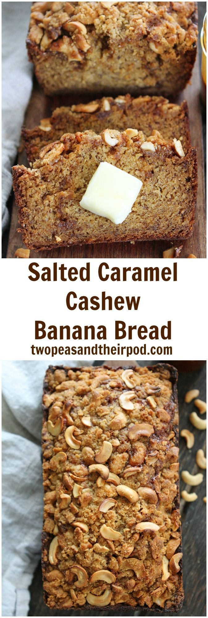Salted Caramel Cashew Banana Bread Recipe on http://twopeasandtheirpod.com This is the BEST banana bread! The salted caramel swirl and sweet and salty cashew streusel topping is AMAZING!