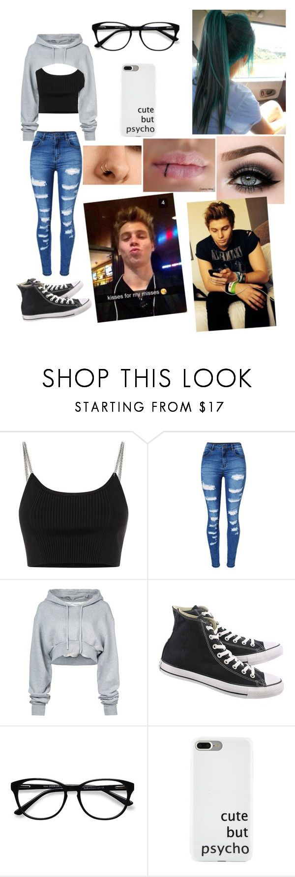 """finding out lukes flight got canceled and he jeeps texting u"" by kayskygre ❤ liked on Polyvore featuring Alexander Wang, WithChic, Off-White, Converse, EyeBuyDirect.com and ASAP"