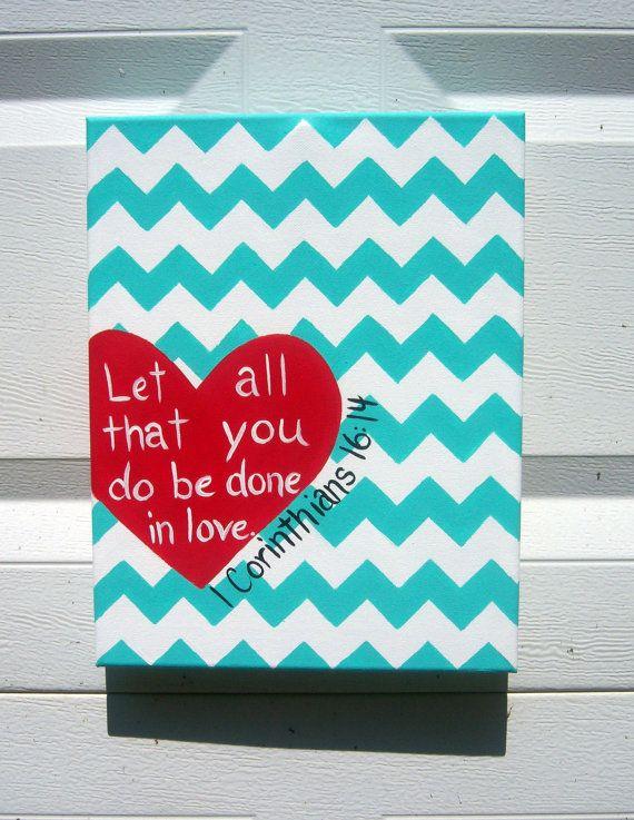 Canvas Painting Heart 1 Corinthians 16:14 by JordansCanvas