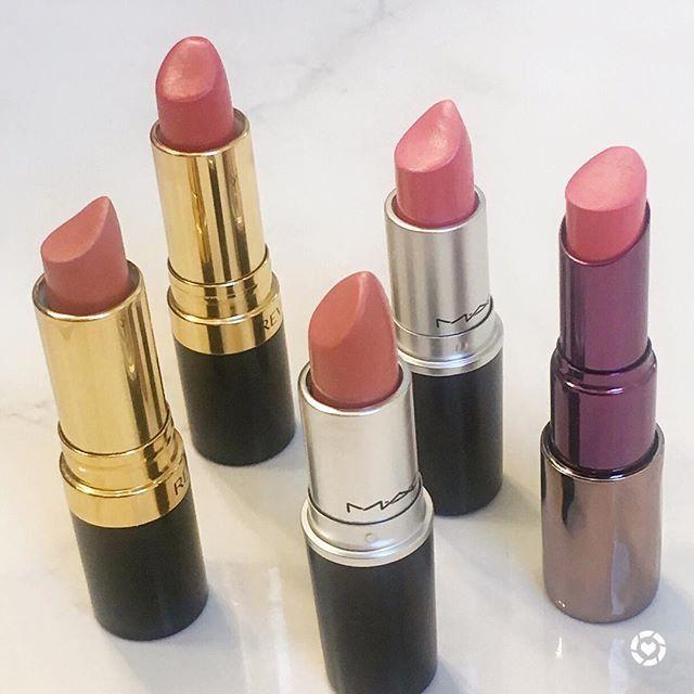 Coral Lipstick Love: L-R Revlon Smoked Peach, Revlon Coralberry, MAC Ravishing, MAC Coral Bliss, Urban Decay Streak. Peach Lipsticks