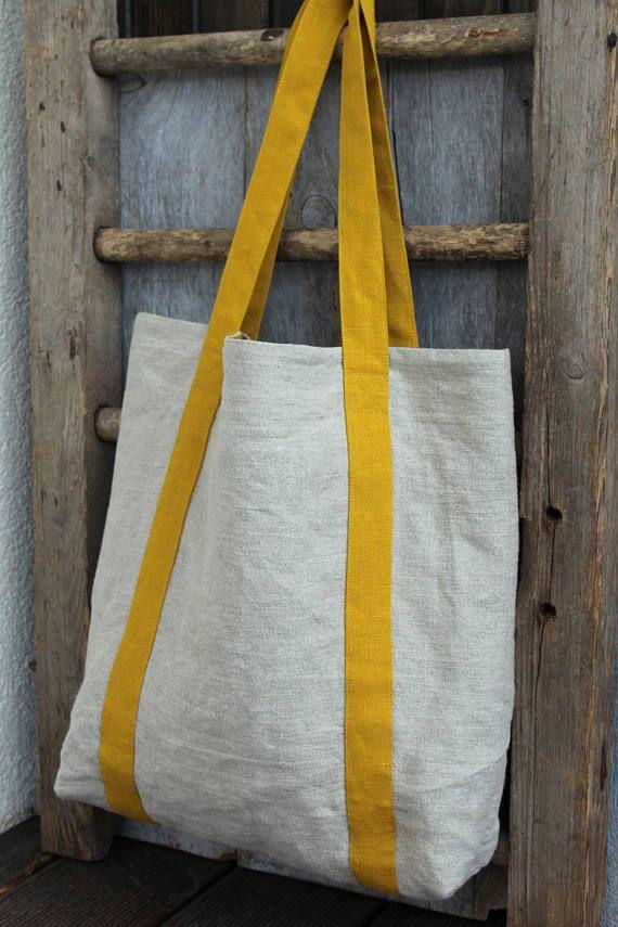 Linen Market Bag Yellow Beach Bag Natural Linen Tote Pure