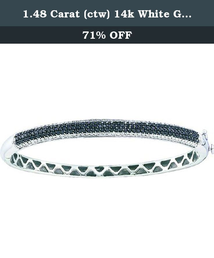 1.48 Carat (ctw) 14k White Gold Round White & Black Diamond Ladies Fashion Bangle Bracelet. This lovely diamond bracelet feature 1.48 ct white & black diamonds in prong setting. All diamonds are sparkling and 100% natural. All our products with FREE gift box and 100% Satisfaction guarantee. SKU # GD54060.