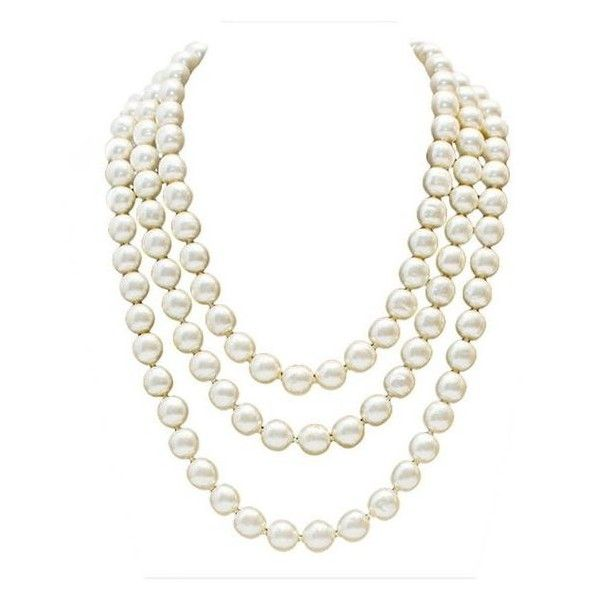 Preowned 1980s Chanel Long Pearl Necklace With Red Stone Clasp ❤ liked on Polyvore featuring jewelry, necklaces, 80s necklace, triple necklace, pearl jewelry, red jewelry and long red necklace
