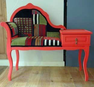 Vintage Restored Patchwork Telephone Seat from Ghost Furniture