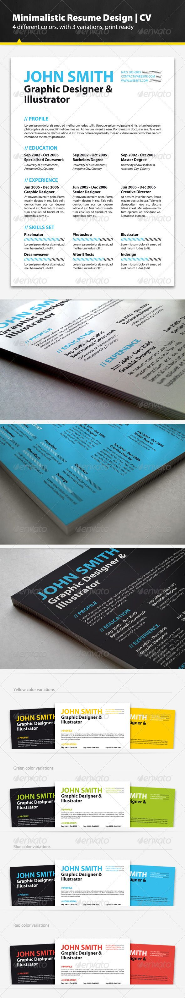 Minimalistic Resume Design — Photoshop PSD #curriculum #stylish • Available here → https://graphicriver.net/item/minimalistic-resume-design/3455709?ref=pxcr