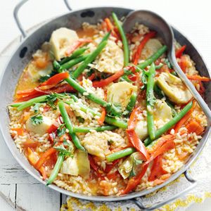 6 maart - sperziebonen in de bonus - Recept - Vegetarische paella - Allerhande
