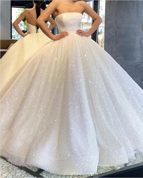 Strapless Bodice Corset Sequin Ball Gown Wedding Dresses Sparkly Open Back Bridal Gowns 01 Ball Gowns Wedding Ball Gown Wedding Dress Wedding Dresses Strapless