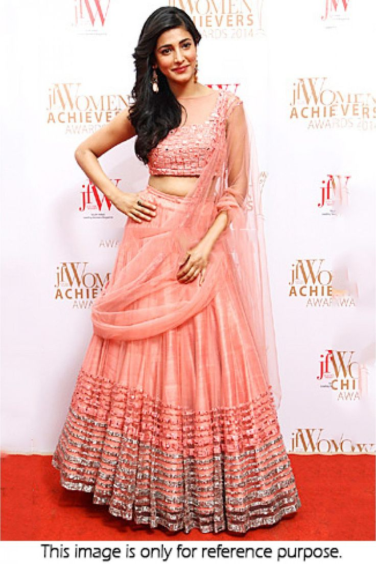 Bollywood Style Shruti Haasan Net Lehenga In Peach Colour NC1468 Peach Colour Net Fabric Designer Bollywood Lehenga Comes With Raw Silk Fabric Blouse Which Can Be Stitched Up To Size 44. This Bollywoo...