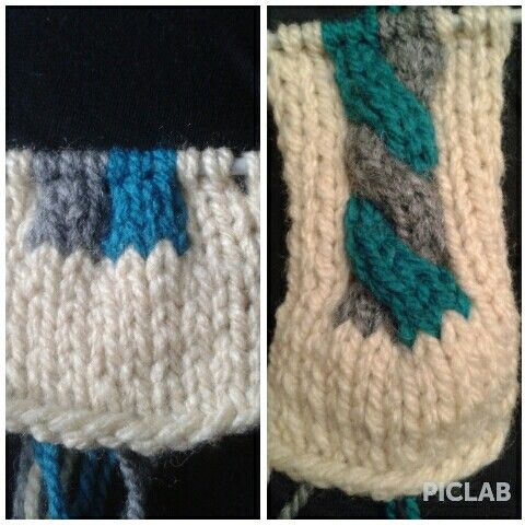 Bi color cable knitting pattern