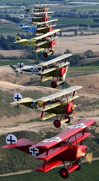 Here we are reporting from the Verdun battlefield. The Imperial German Air Corps is again trying to gain air supremacy. A full gaggle of Triplanes!