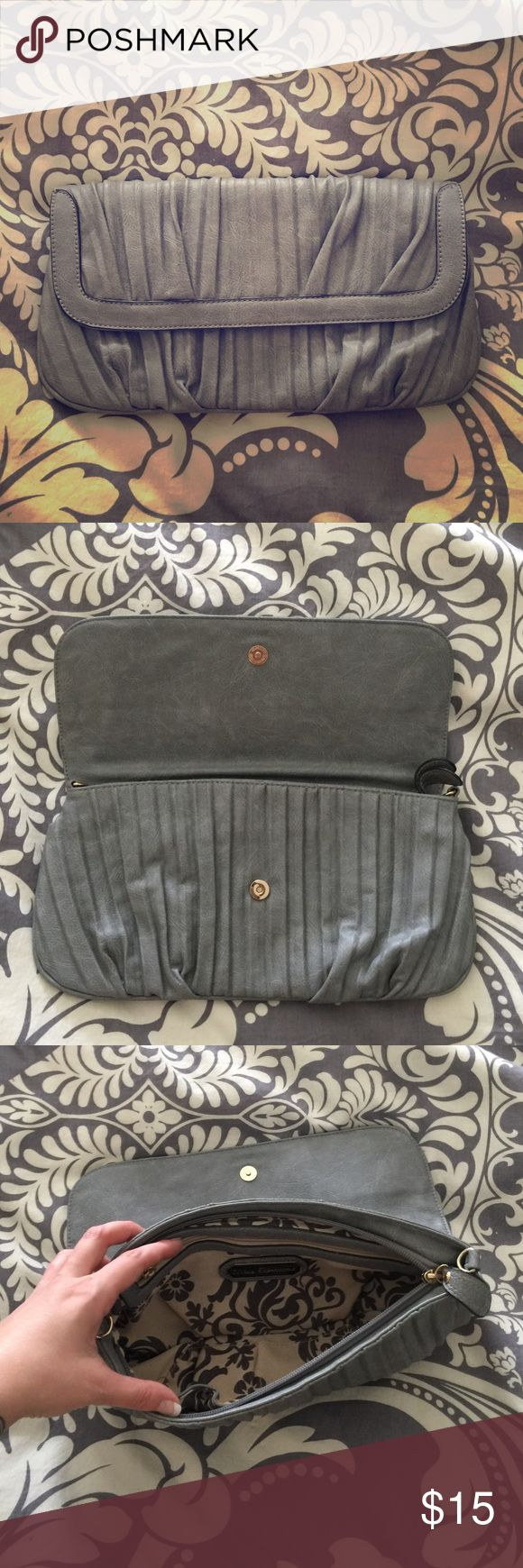 Gray/Blue Clutch Blue-Grey Clutch with a zipper and magnetic closure. Urban Expressions Bags Clutches & Wristlets