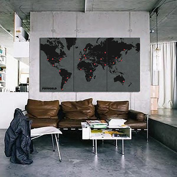 Wereldkaart Wall Map Diary Pin World XL (Zwart) | Palomar - 8033020511128 - Wereldkaarten op prikbord - Wereld - Palomar | Landschap Reisboekwinkel