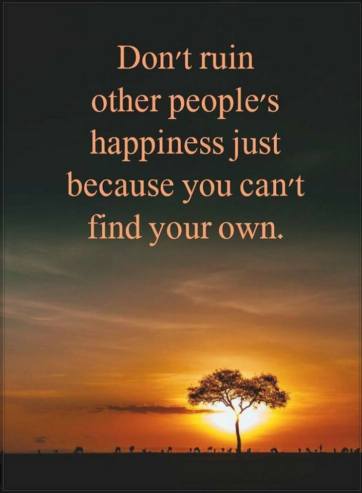 Quotes Don't ruin other people's happiness just because you can't find your own.