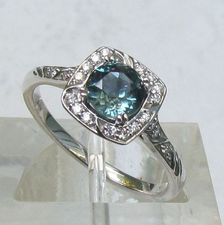 Blue Green Sapphire Engagement Ring