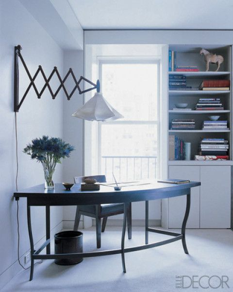 Really like the curved desk  - good for creating an office space without invading a room too much