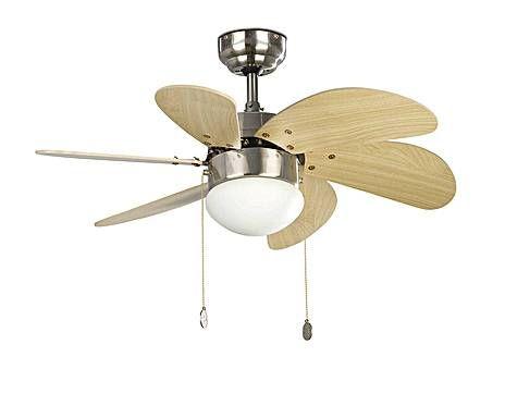 Ventilatore lampadario in acciaio e legno palao - d 76 cm