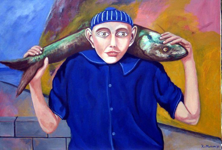 Fishermans friend - oil on canvas - 70x100cm - ©Henk van Merkom - 1993