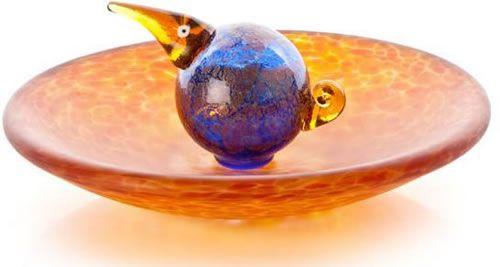 Bird Bath Bowl, Amber- by Borowski