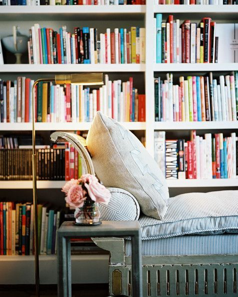Fabulous Floor Lamps! - Design Chic- love the books in the bookcase