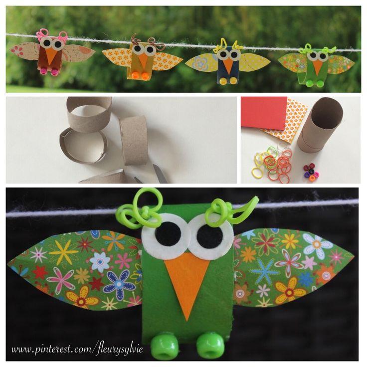 Bricolage enfant petits oiseaux avec rouleaux papier wc - Idee avec rouleau papier toilette ...