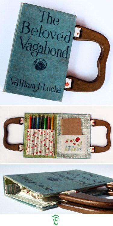 IF I had little ones still I would do this.  A broken 3-ring binder makes a cute art kit.  Que LINDOOO. Quero pra mim!!!