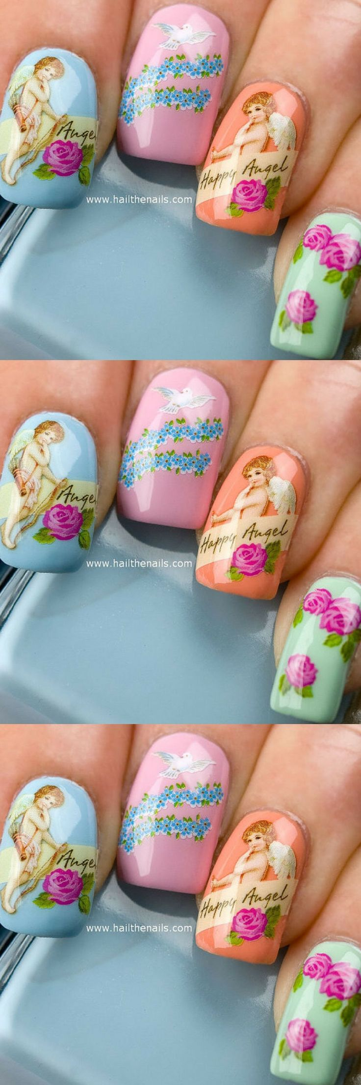 Nail Art Water Transfer Decal Cherubs & Angels Valentines Day Love Nails. Mixture of angels, cherubs & flowers on clear water transfer which  can be applied over any colour varnish on either your natural or false  nail.  Really easy to apply & come with full instructions  Nail Art, Nail Ideas, Nail Designs #nailart #ad #naildesigns