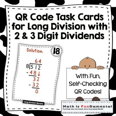 QR Code Task Cards for Long Division with 2 & 3 Digit