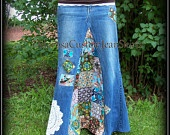 Classic Hippie patchwork Long Jean Skirt Custom Order to Your Size 0-14. $78.00, via Etsy.