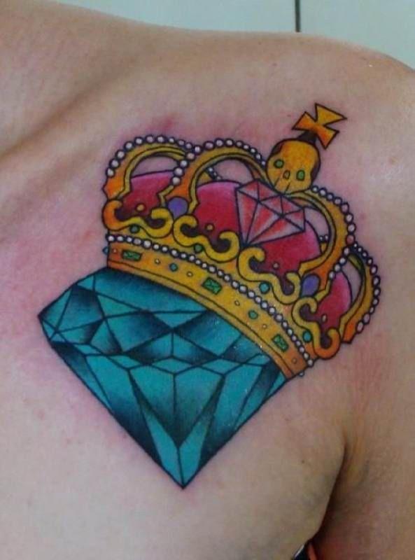 Tattoo crown with blue gemstone   #Tattoo, #Tattooed, #Tattoos