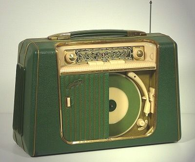 Metz portable 45 record player and AM radio, 1956
