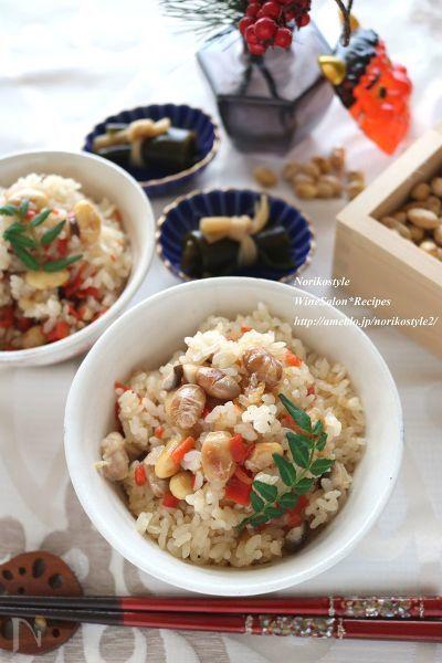 余った節分豆を炊き込みご飯にリメイクします。固い豆が苦手な方も炊き込んで柔らかにすることで食べやすくなりますよ!香ばしい香りとともにたっぷり召し上がれ!