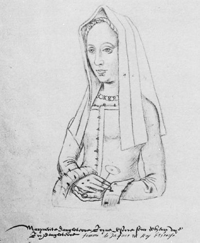 Margaret Tudor, married to James IV, King of Scotland in 1503. Thought to have been drawn from life.