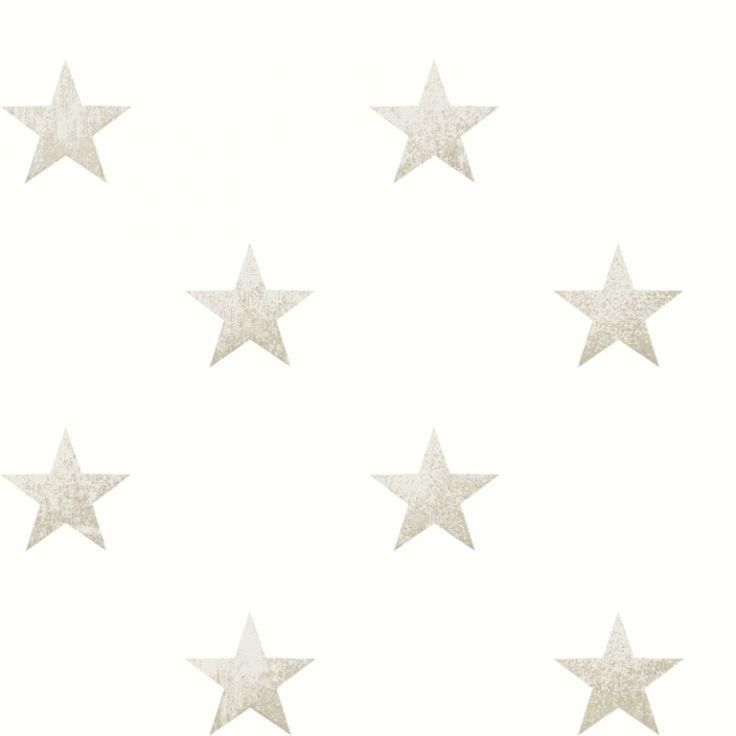 Vliestapete große Sterne creme/beige