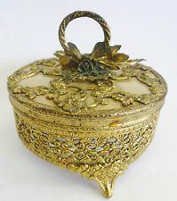Vintage 24Kt Gold Plated GLOBE Filigree Ormolu Jewelry Glass Casket Trinket Box