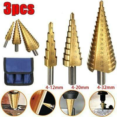 6PCS Titanium Step Drill Bit Set /& Automatic Center Punch Sizes Case Step Cone