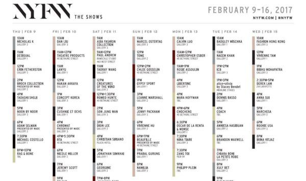 NYFW – The Shows – February 9-16, 2017 – Schedule