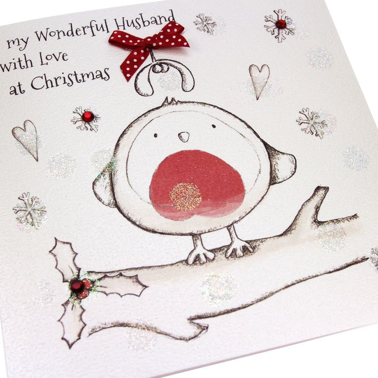Handmade Christmas Card Cute Robin Embossed Glittered Polka Dot Bow Red Gems - 'To my Wonderful Husband with Love at Christmas'