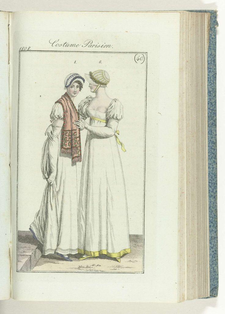 Anonymous | Journal des Dames et des Modes, editie Frankfurt 2 octobre 1808, Costume Parisien (40), Anonymous, J.P. Lemaire, 1808 | De begeleidende tekst (p. 17 en 18) vermeldt: Fig. 1: Strohoed, gegarneerd met fantasiebloemen.Japon van perkale. Kleine sjaal van kasjmier. Witte handschoenen. Lila schoenen. Fig. 2: Strohoed met linten, versierd met een rand van magrietjes. Japon van perkale. Ceintuur en garnituur van geel lint. Witte handschoenen. Gele schoenen. De prent maakt deel uit van…