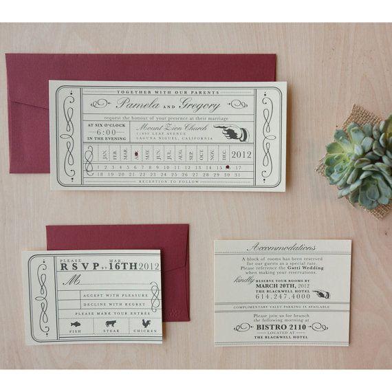 Vintage Ticket Wedding Invitation - Punch Card, Vintage Train Ticket, Travel Wedding Invitation-