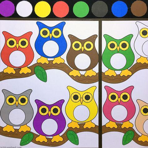owl color match file folder game for preschool and kindergarten