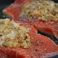 Copycat costco stuffed salmon (some ingredients need tweaking, switch rice for quinoa, breadcrumbs for almond flour (or small chopped almonds), switch cheese and butter for an egg to hold things together (may not need mayo either)