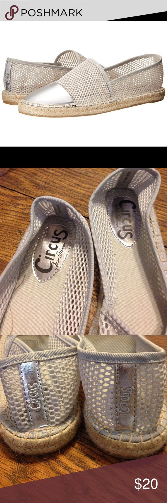 Circus-Sam Edelman Lena mesh silver espadrille 10 Circus by Sam Edelman Lena mesh silver espadrille size 10. Textile and synthetic upper with mesh panels. Lightly cushioned man-made insole. Jute rope detail on outsole. Excellent condition Shoes Espadrilles
