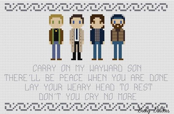 This pattern features characters from Supernatural: Dean, Sam, Castiel and Bobby with the song quote, Carry on my wayward son. Therell be peace when you are done. Lay your weary head to rest. Dont you cry no more. This is a listing for a pattern only. It is a PDF file and you will