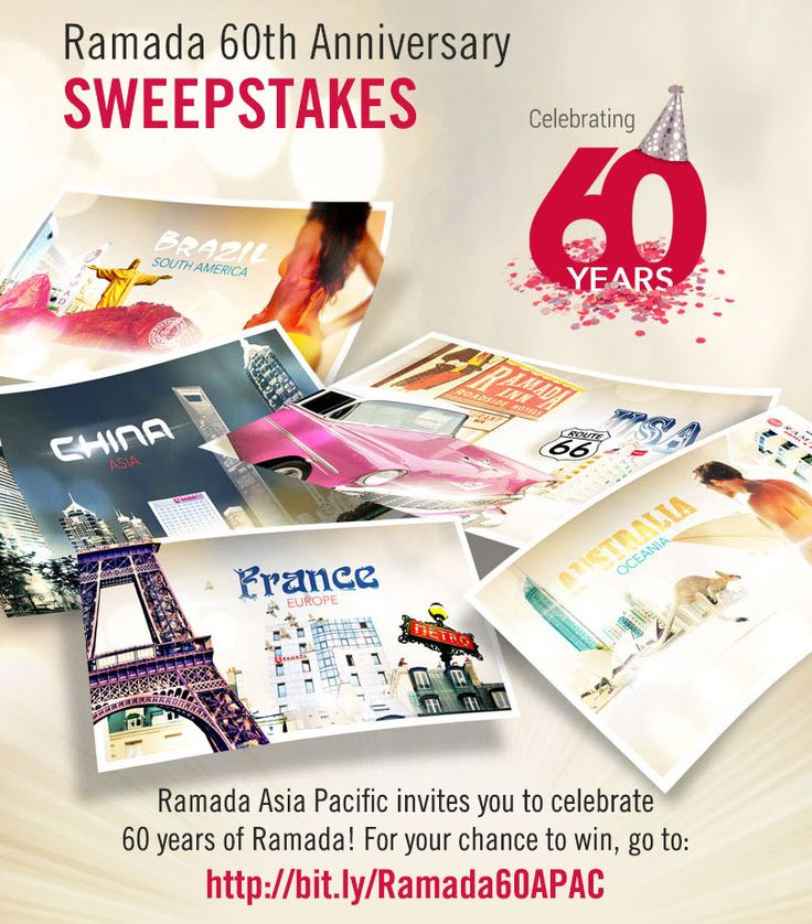 Celebrate Ramada's 60th anniversary. Enter to win Wyndham Rewards or a getaway from Ramada Asia Pacific. #Ramada60APAC.