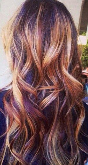Multi highlighted hair