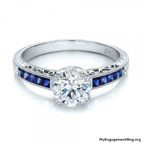Beautiful Diamond Bands: Diamond And Blue Sapphire Engagement Ring