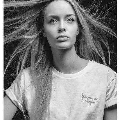 """T-shirt blanc """"Femme de voyou"""" broderie"""